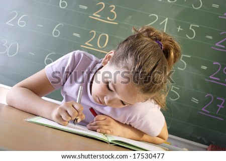 a schoolgirl in a classroom