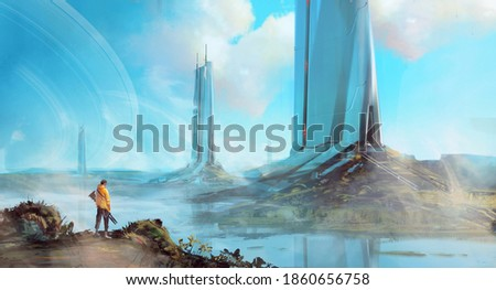 A science fiction scene of a man looking at technlogically advanced building, under an open blue sky. Foto stock ©