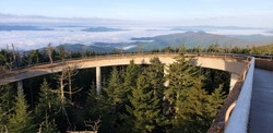 A scientific structure, Clingmans Dome, that allows the world to see Gods wonder they never dreamed exist. The breath taking views. Highest point along the Appalachian trail.