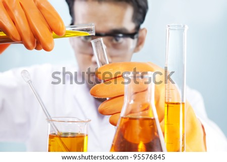 A scientist is doing his chemical lab research