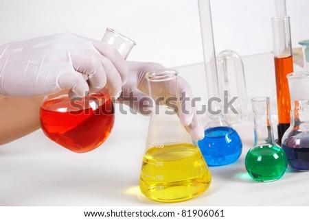 A scientist man working in laboratory. Medicine