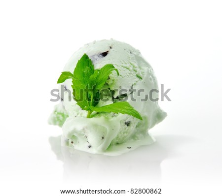 a Scoop of pistachio or mint  ice cream with chocolate chips