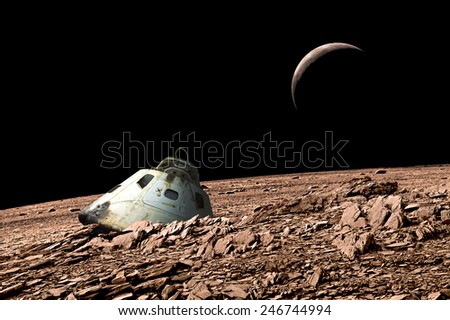 Stock Photo A scorched space capsule lies abandoned on a barren and airless moon. - Elements of this image furnished by NASA.