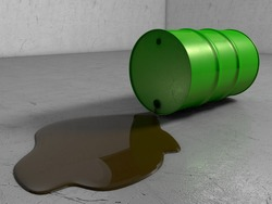A Scratched Green metal Oil drum lying on its side whilst leaking oil onto scratchy Surface