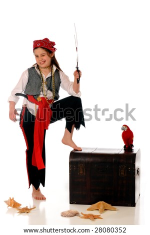 A scrutinizing pirate girl wielding her sword by an old treasure chest and her parrot.  Isolated on white.