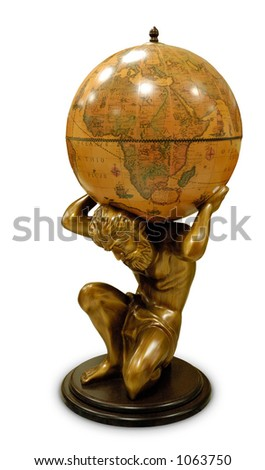 A sculpture of a man holding a terrestrial globe on his neck