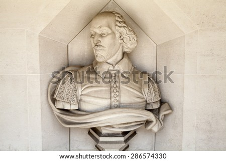 A sculpture of famous playwright William Shakespeare situated outside Guildhall Art Gallery in London.