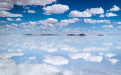 A sea of clouds reflected in Uyuni salt flat, Bolivia