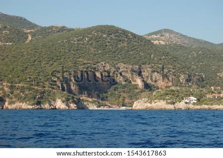 A sea view of the Büyük Çakıl Beach near Kaş, Turkey Stok fotoğraf ©