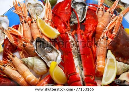 A seafood platter close up