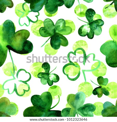 A seamless background pattern with hand drawn watercolour shamrocks on a white background with musical notes, Irish music or St Patrick's Day repeat print