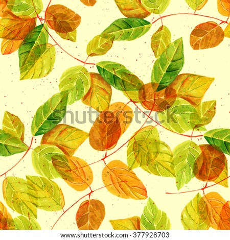 A seamless background pattern with watercolor green and golden yellow leaves, toned