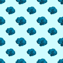 A seamless pattern of elegant blue roses on a pale blue background as a wallpaper  Could be used for bed sheets or pillows