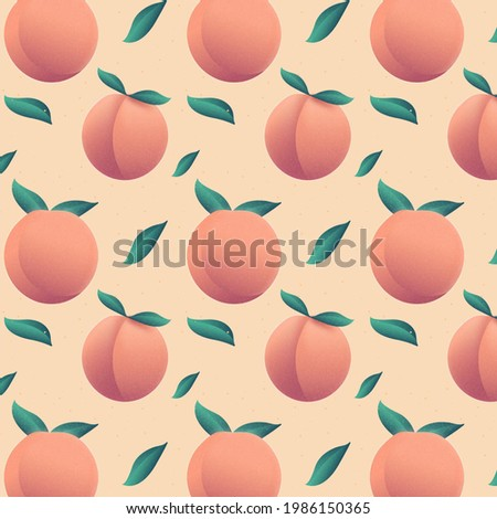 A seamless pattern of peaches with beautiful gradient. peach  red and orange peach beautiful peaches peach tasty peaches with two leaves on every peach with minimal background