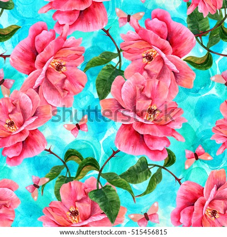 A seamless pattern with a watercolor drawing of a blooming pink rose and a butterfly, hand painted on a teal background in the style of vintage botanical art