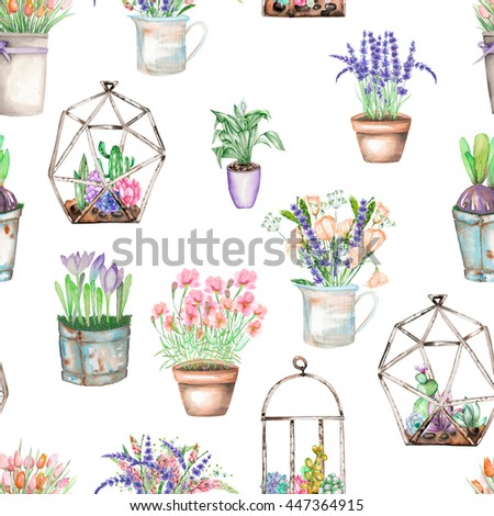 A seamless pattern with bouquets of wildflowers in a rustic pots and florariums with succulents, isolated hand drawn in a watercolor on a white background