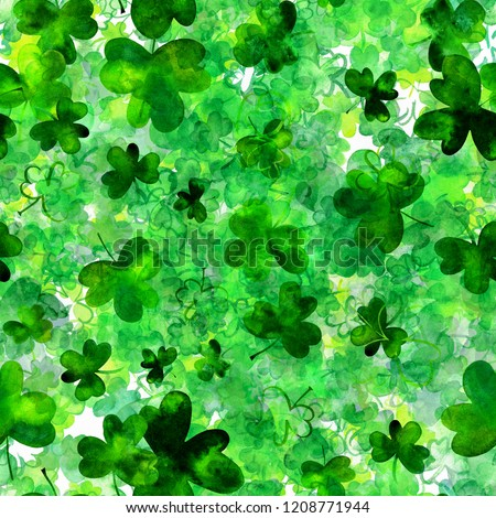 A seamless pattern with watercolor drawings of shamrocks, Irish clovers, a vibrant green St Patrick's Day repeat print