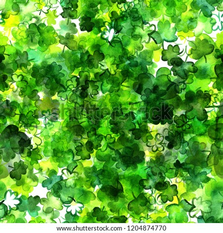 A seamless pattern with watercolor drawings of shamrocks, Irish clovers, on a white background