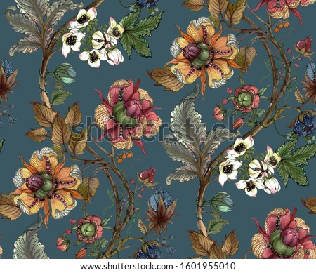 A seamless repeat pattern of fantasy wild flower branches. The file size of repetition tile is 28cmx23cm with 600 DPI. File can be repeated seamlessly.