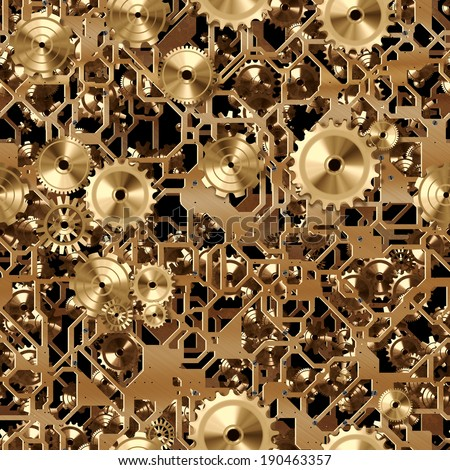 A seamless tile of brass cogs and gears similar to a clockwork.
