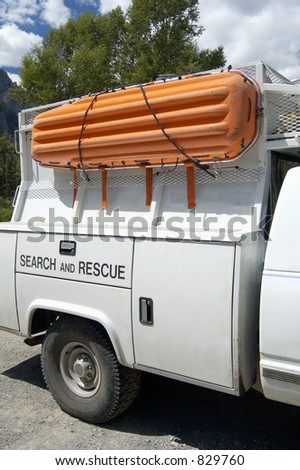A search and rescue vehicle on duty in the Rocky