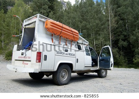 A search and rescue vehicle on duty in the Rocky  Mountains.
