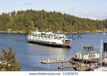 A Seattle ferry arrival at Friday Harbor, San Juan Islands, Washington, USA.  Editorial.