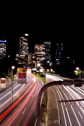 a 10 second exposure of Sydneys M1 Motor way showing directional light trails from passing vehicles
