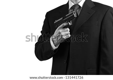 A secret spy agent against a white background.