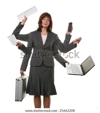 A secretary with many hands, and notebook in stress