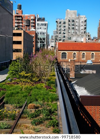 A section of New York City's High Line Park, on the West Side, in Chelsea on a spring day.