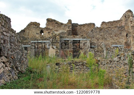 A section of ruins within the ancient city of Pompeii, Italy, that was destroyed by the eruption of Mount Vesuvius volcano in 79AD.