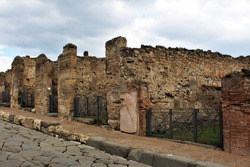 A section of ruins within the ancient Roman city of Pompeii, Italy, which was destroyed by the eruption of Mount Vesuvius in 79AD.