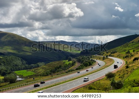 A section of the M6 motorway near Shap, Cumbria, England