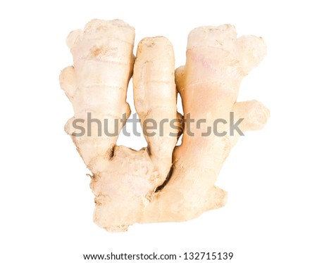 A section of the pungent aromatic rhizome of fresh root ginger used as a seasoning and spice in cooking isolated on white