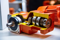 A sectional view of bevel gearboxes, helical gearboxes, and motor gearboxes