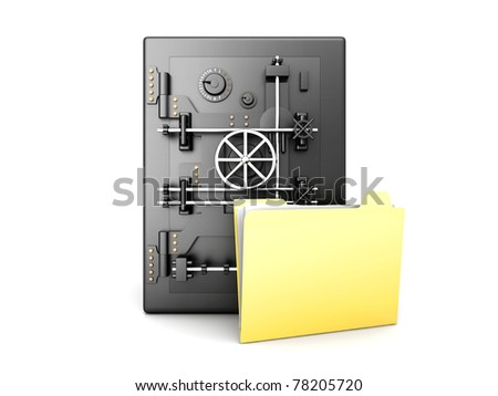 A secure, locked, directory. 3D rendered illustration. Isolated on white.