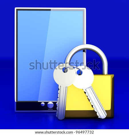 A secure Tablet PC. 3D rendered illustration.