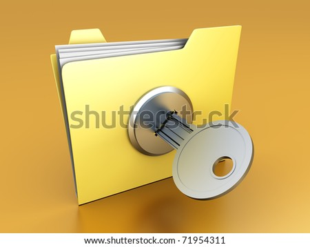 A secured / encrypted Folder. 3D rendered Illustration.