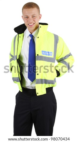 A security guard holding his hands in his pockets, isolated on white