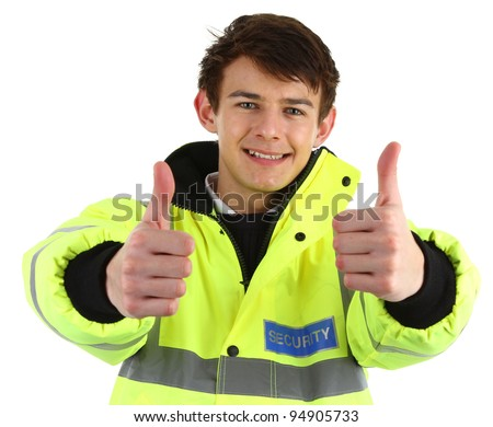 A security guard with a thumbs up sign, isolated on white - stock photo