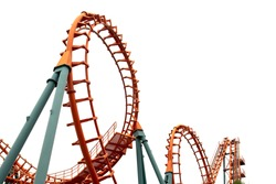 A segment of a roller coaster ,on white background