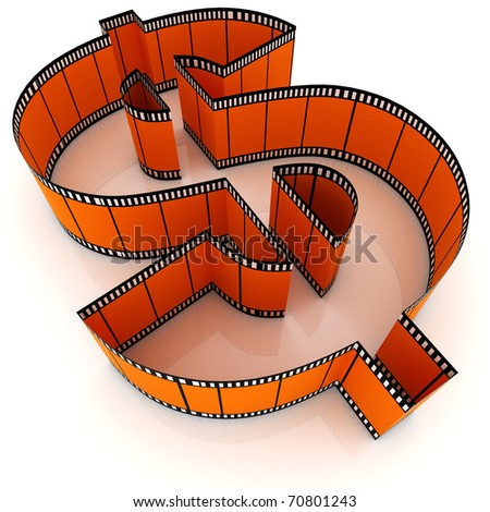 A segment of film rolled into the form of dollar