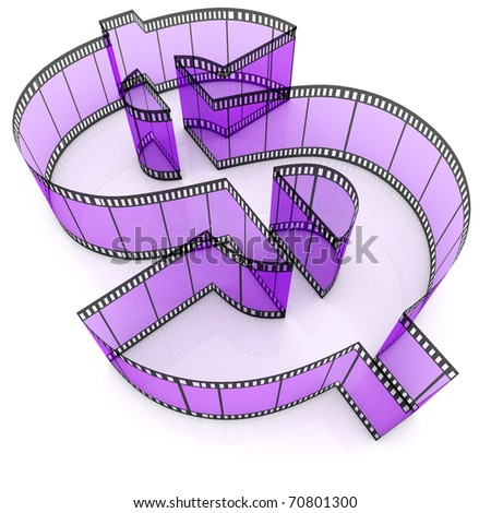 A segment of film rolled into the form of dollar - stock photo
