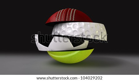 A segmented and fragmented round shaped ball with the different segments representing the sports of cricket, golf, tennis and soccer