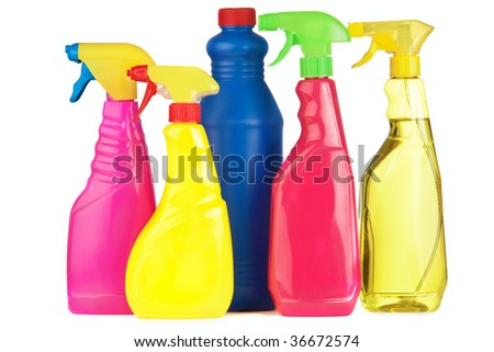 A selection of colorful cleaning equipment on a white background