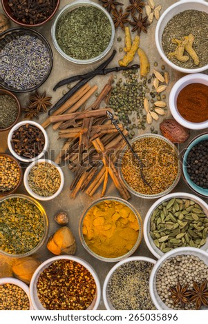 A selection of dried herbs and spices. Use in cooking to add seasoning and flavor to a meal.