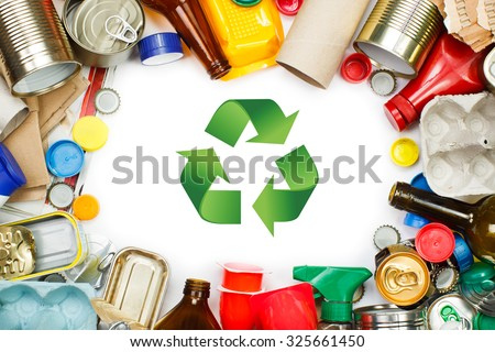 A selection of garbage for recycling. Segregated metal, plastic, paper and glass