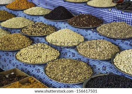 a selection of nuts and dried fruit in the spice market, Istanbul, Turkey / dried fruit and nuts