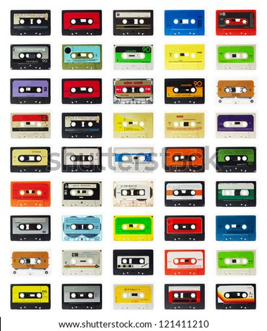 a selection of old audio cassettes